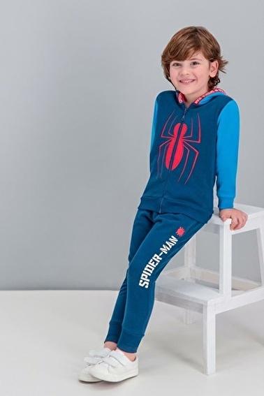 Spider-Man Spider Man Lisanslı Lacivert Erkek Çocuk Kapüşonlu Eşofman Takımı Lacivert